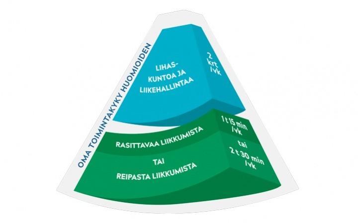 Soveltavan liikkumisen suosituksen kartion turkoosi ja vihreä yläkärki, teksti lihaskuntoa ja liikehallintaa 2 kertaa viikossa.
