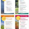 Liikuntaneuvonnan neljän asiakaslehtisen kansilehdistä kootut näyttökuvat.