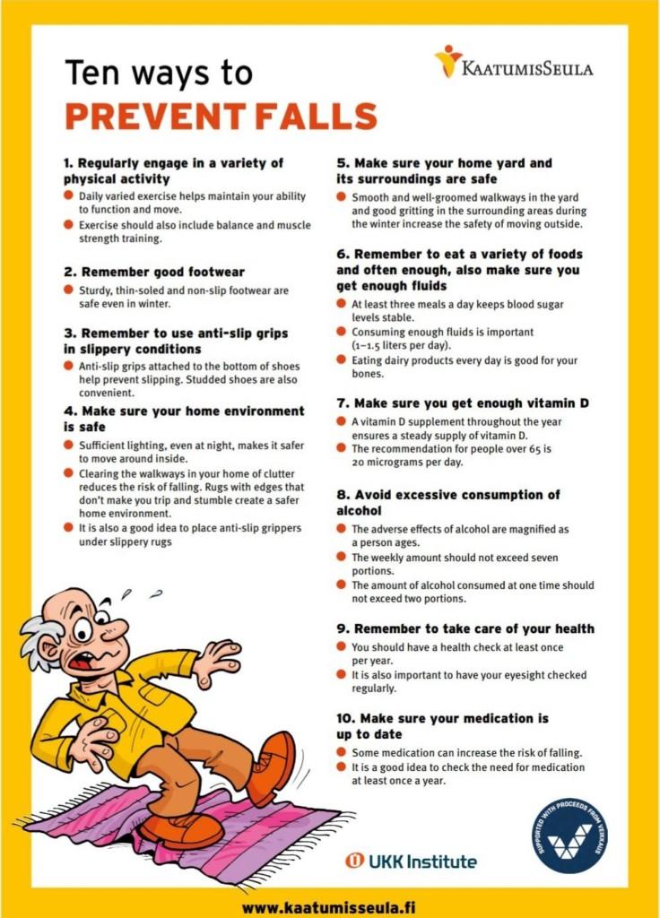 10 ways to prevent falls, kuvituskuva.