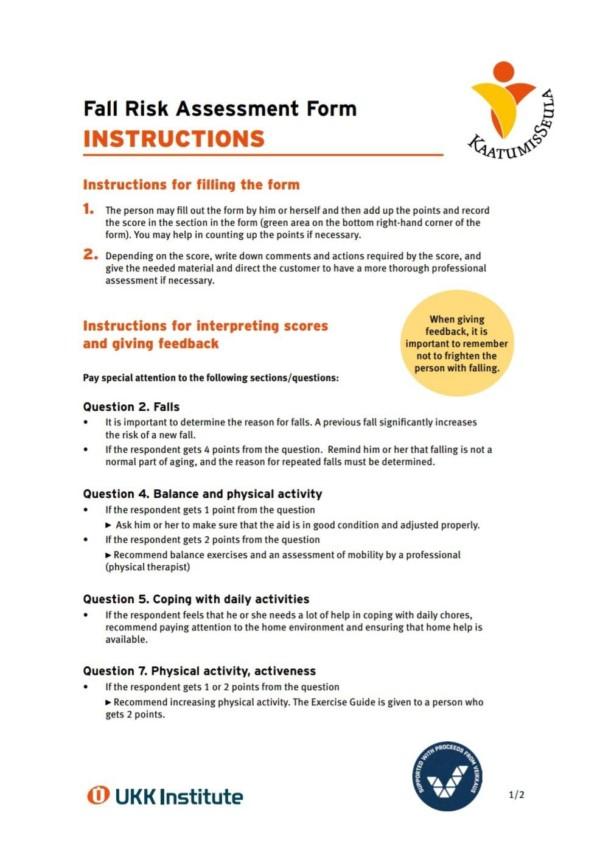 Fall Risk Assessment Instructions, kuvituskuva.