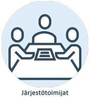 Ryhmäkuvassa järjestö- ja yhdistystoimijoita saman pöydän ääressä, kuvituskuva.