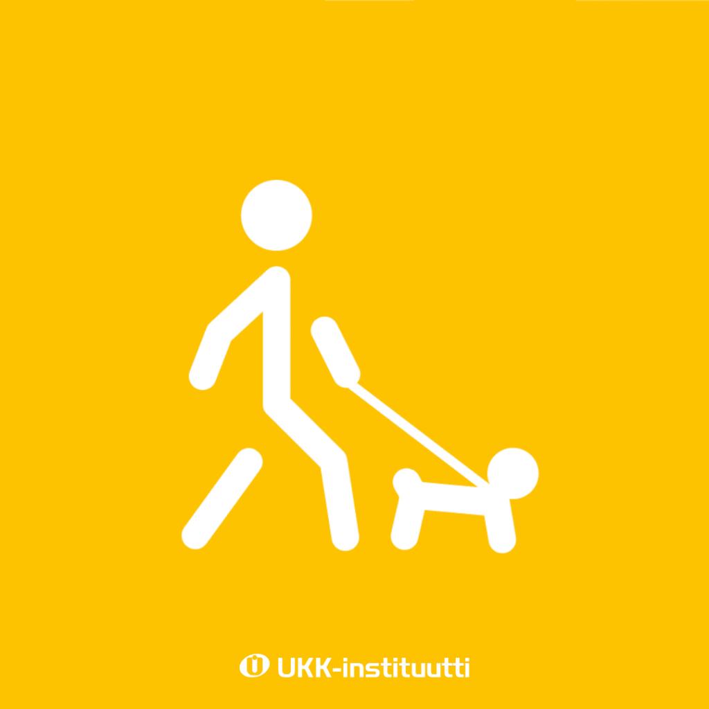 tikku-ukko kävelyttää koiraa.