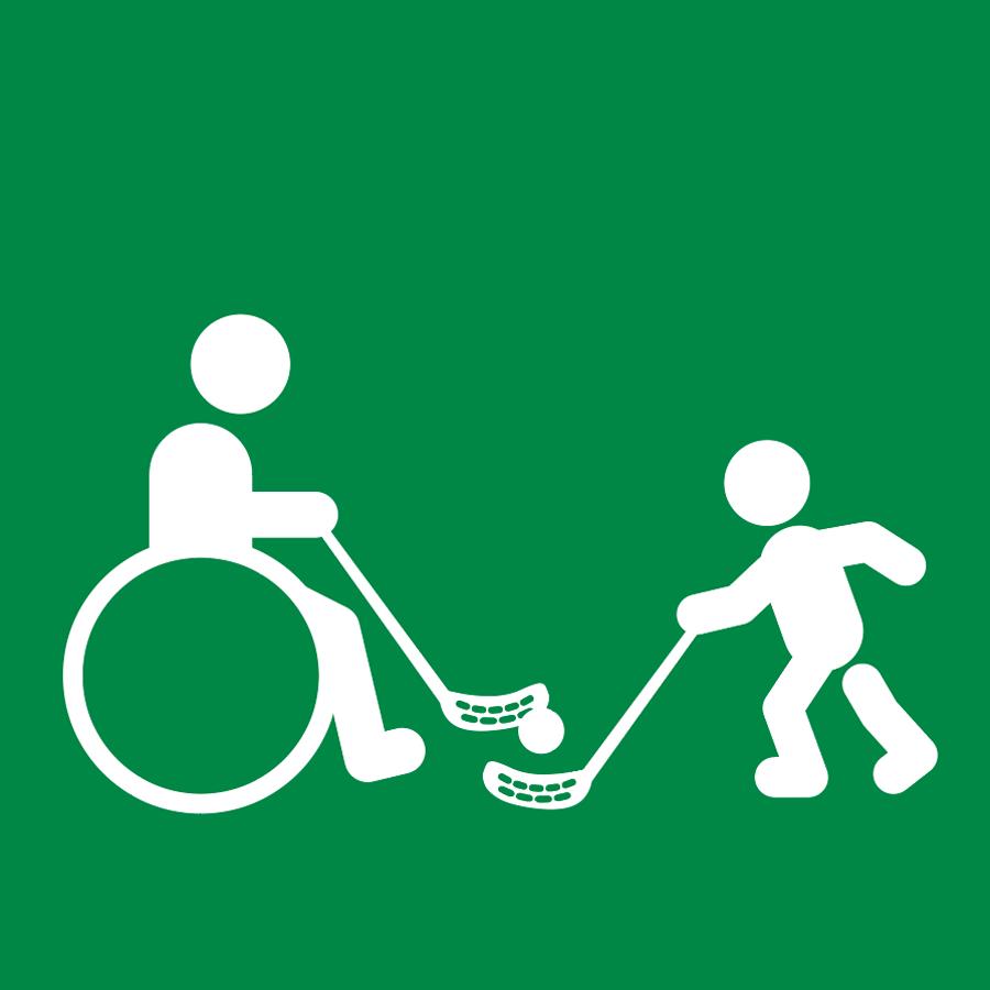 Sählynpeuuta aikuinen pyörätuolissa ja lapsi omin jaloin, piirroskuva.