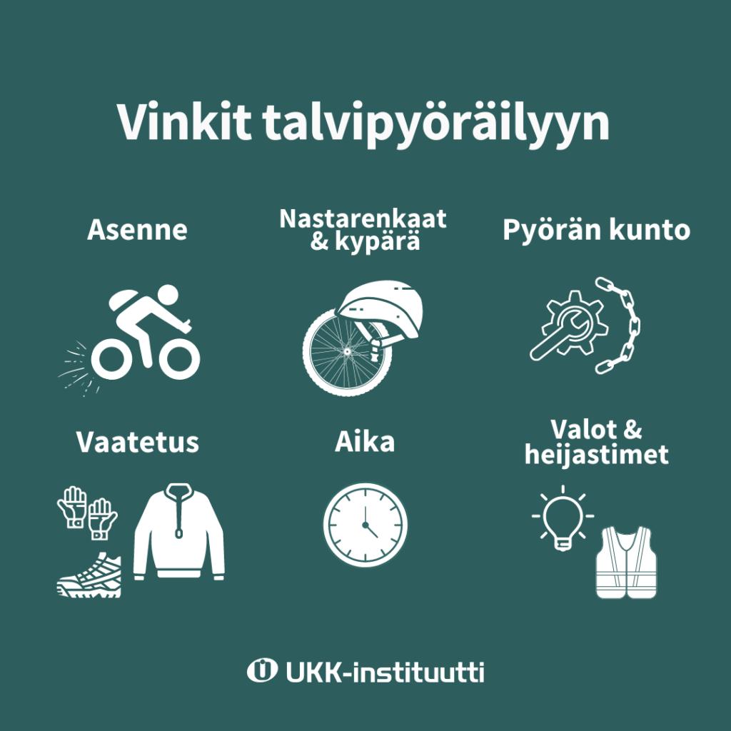 Ingoraafi talvipyöräilyyn vinkeistä: asenna, nastarentaat ja kypärä, pyörän kunto, vaatetus, aika, valot ja heijastimet.