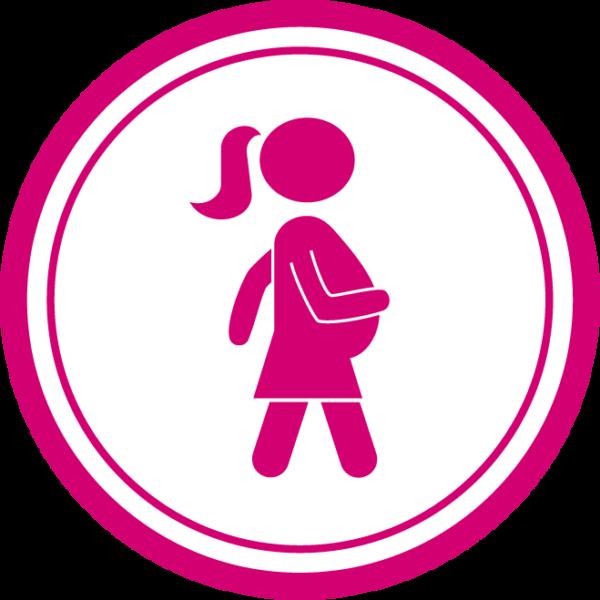 Raskaana olevan piirrosikoni, jossa odottava äiti kävelee reippaasti.