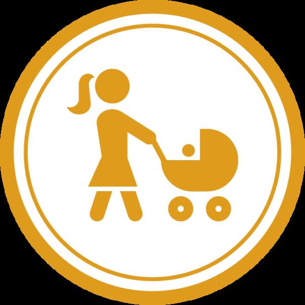 Synnyttäneen äidin piirrosikoni, jossa äiti kävelee työntäen lastenvaunuja.