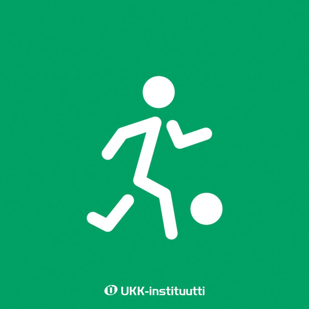 Piirroskuva, jossa tikku-ukko pelaa jalkapalloa.