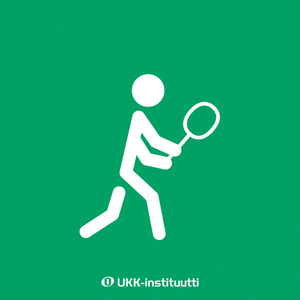 Piirroskuva, jossa tikku-ukko pelaa tennismailan kanssa.
